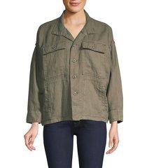 joie women's kendora linen cargo jacket - fatigue - size xs