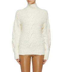 bouclé knit oversized turtleneck sweater