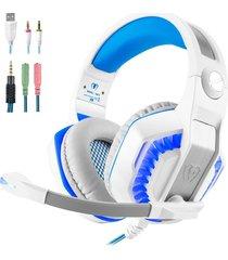 audífonos gamer, hot gm-2 3.5mm game gaming auriculares headband con micrófono led de luz para xbox tablet pc portátil teléfonos móviles ps (blanco azul)