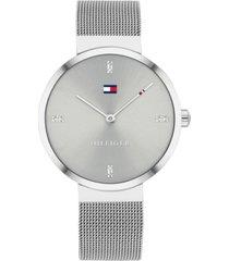 tommy hilfiger women's gray stainless steel mesh bracelet watch 35mm