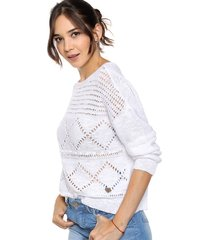 sweater blanco try me metalic