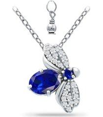 giani bernini simulated blue sapphire and cubic zirconia bee pendant