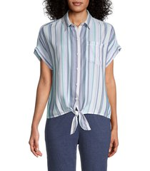 beach lunch lounge women's brooklyn striped tie-knot shirt - blue - size xl