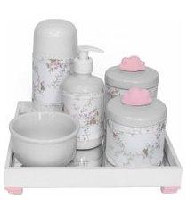kit higiene espelho completo porcelanas, garrafa pequena e capa nuvem rosa quarto bebê menina