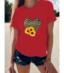 camiseta de manga corta con cuello redondo de girasol y corazón de leopardo