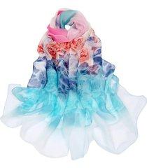 echarpe lenço estampado flores multicolor azul, rosa e branco