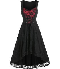 lace up mesh rose fit and flare dress
