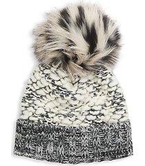 fox fur pom-pom wool-blend beanie