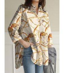 camicetta da donna con risvolto allentato a maniche lunghe con stampa a sciarpa