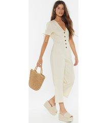 womens linen button down jumpsuit - sand