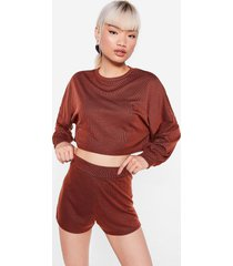 womens back to the basics petite top and shorts lounge set - rust