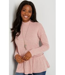 maurices womens solid ribbed mock neck babydoll top pink