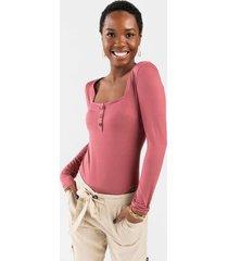 dennie button bodysuit - rose