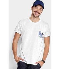 camiseta foxton bolso print tropical masculina
