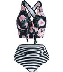 floral striped ruched crisscross tankini swimwear