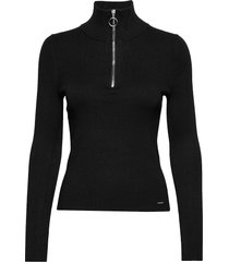edit ophelia high neck knit stickad tröja svart superdry