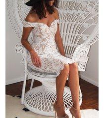 dress celebrity v-neck slash off shoulder crochet lace mini sheath
