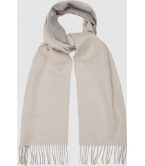 reiss galvin - wool cashmere blend scarf in oatmeal, mens