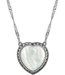 2028 silver-tone semi precious mother of pearl heart necklace