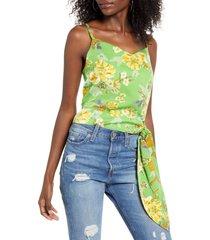 women's 4si3nna elodie floral tie waist tank top, size medium - green