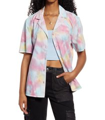 women's bp. oversize tie-dye button-up shirt, size xx-small - purple