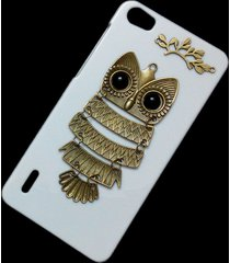 3d cute retro bronze metal owl branch hard back case cover for huawei honor 6