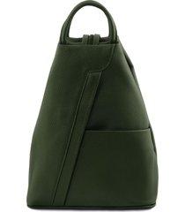 tuscany leather tl141881 shanghai - zaino in pelle morbida verde foresta