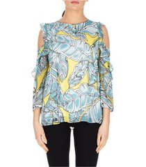 blouse luckylu blusa off shoulder stampa foglie