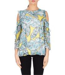 blouse luckylu blusa off shoulder stampa foglie