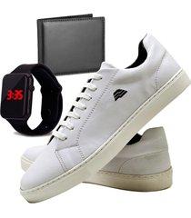 sapatênis sapato casual com carteira e relógio led dubuy t10db branco