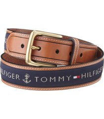 tommy hilfiger men's single-prong buckle leather cotton belt in navy color