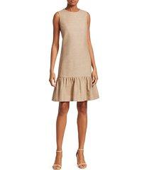 sleeveless raw silk drop waist dress