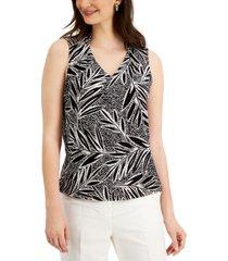 kasper palm-print top