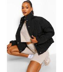 tall korte gewatteerde oversized jas, zwart