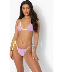 driehoekige bikini top met contrasterende naden en strik, lilac