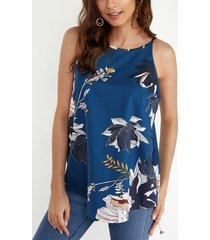 top camisero azul oscuro con estampado floral al azar y dobladillo alto-bajo