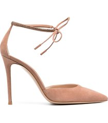gianvito rossi ankle-tie pointed pumps - neutrals