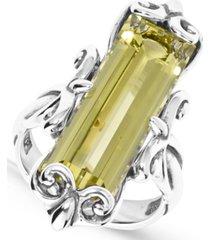 carolyn pollack lemon quartz (11-1/2 ct. t.w.) faceted baguette ring in sterling silver