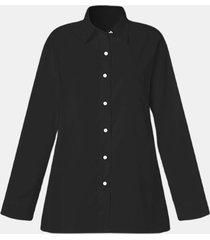 camicetta casual da donna a maniche lunghe con bottoni tinta unita