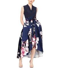 sl fashions floral-print high-low dress
