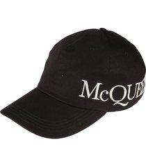 alexander mcqueen logo print oversized cap