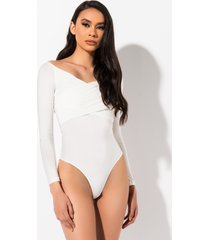 akira up up and away off the shoulder long sleeve bodysuit