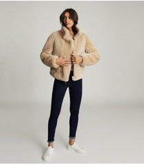 reiss hadi - reversible shearling aviator jacket in tan, womens, size l