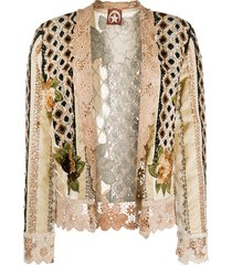 a.n.g.e.l.o. vintage cult 1980s floral embroidery crocheted jacket -