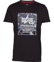 camo block t t-shirts short-sleeved svart alpha industries