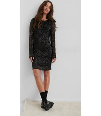 na-kd party sequin round neck mini dress - black