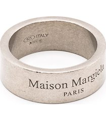 maison margiela logo-engraved distressed-look ring - silver