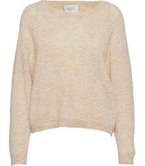 brook knit o-neck stickad tröja creme second female