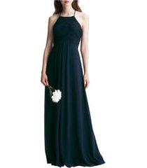 women's #levkoff halter chiffon a-line gown, size 14 - blue