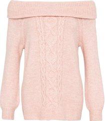 maglione a trecce con spalle scoperte (rosa) - bodyflirt
